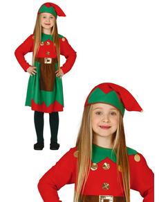 Costume da elfa rossa lavoratice da bambina